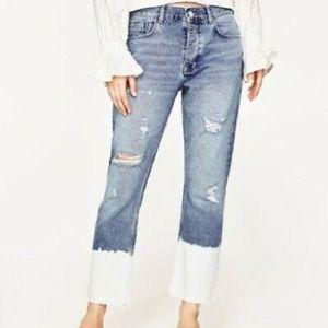 ZARA distressed bleach dipped crop jeans